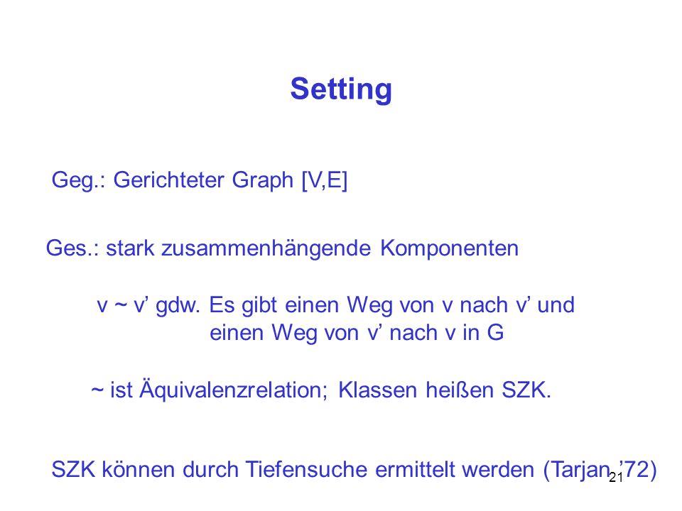Setting Geg.: Gerichteter Graph [V,E]